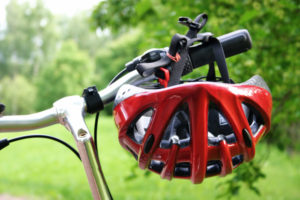 Red bicycle helmet